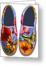 Butterfly Hibiscus Custom Painted Shoes Greeting Card