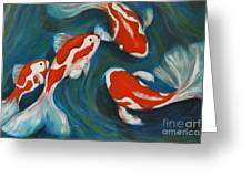 Butterfly Koi Greeting Card by Nancy Bradley