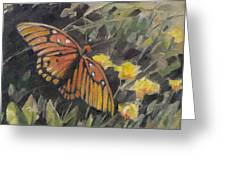Butterfly Meadow With Yellow Flowers Greeting Card