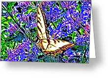 Butterfly With Purple Flowers 2 Greeting Card