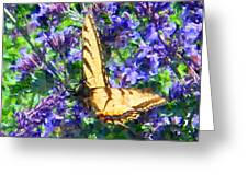 Butterfly With Purple Flowers 3 Greeting Card