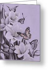 Butterflies In A Field Of Freesias Greeting Card