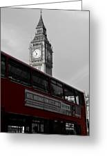 Bw Big Ben And Red London Bus Greeting Card