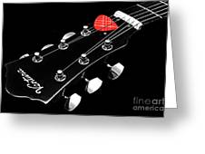 Bw Head Stock With Red Pick  Greeting Card
