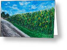 By An Indiana Cornfield The Road Home Greeting Card