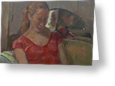 By The Old Mirror, 2009 Oil On Canvas Greeting Card