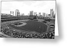 By The Right Field Foul Pole Bw Greeting Card