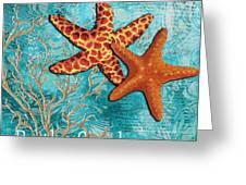 By The Sea Shore Original Coastal Painting Colorful Starfish Art By Megan Duncanson Greeting Card