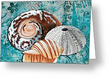 By The Seaside Original Coastal Painting Colorful Urchin And Seashell Art By Megan Duncanson Greeting Card