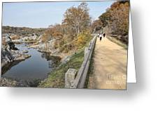 C And O Canal Above And Potomac River Below Greeting Card
