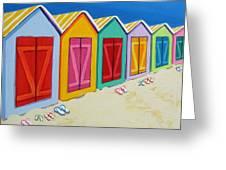 Cabana Row - Colorful Beach Cabanas Greeting Card