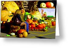 Cabbage Patch Kids - Giant Pumpkins - Marche Atwater Montreal Market Scene Art Carole Spandau Greeting Card