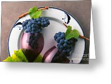 Cabernet Grapes And Wine Glasses Greeting Card