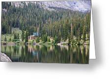 Cabin By The Lake In The Forest Greeting Card