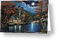 Cabin By The Lake Greeting Card by John Zaccheo