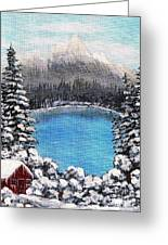 Cabin By The Lake - Winter Greeting Card by Barbara Griffin