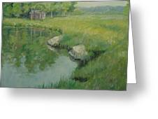 Cabin By The Pond Greeting Card