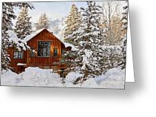 Cabin In Snow Greeting Card