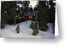 Cabin On The Mountain Greeting Card by Angi Parks