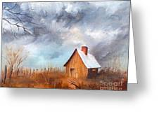 Cabin With Fence Greeting Card