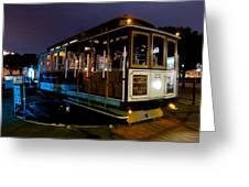 Cable Car At Night Greeting Card