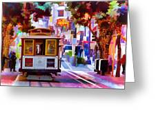 Cable Car At The Powell Street Turnaround Greeting Card