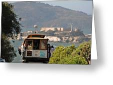 Cable Car Going Down A Steep San Francisco Hill Greeting Card