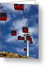 Red Line Cable Car Gondolas Bolivia Greeting Card