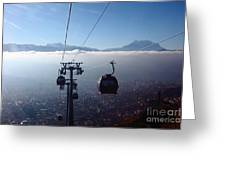 Cable Cars Over La Paz City Greeting Card