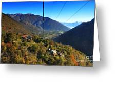 Cableway Over The Mountain Greeting Card