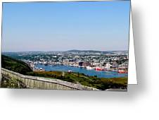 Cabot Tower Overlooking The Port City Of St. John's Greeting Card