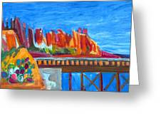 Cacti With Red Rocks And Rr Trestle Greeting Card