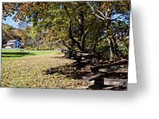 Cades Cove House And Split Rail Fence Greeting Card