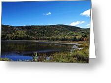 Cadillac Mountain And Lake In Acadia National Park Greeting Card