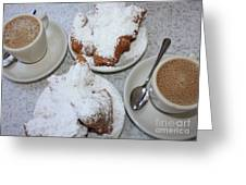 Cafe Au Lait And Beignets Greeting Card by Carol Groenen