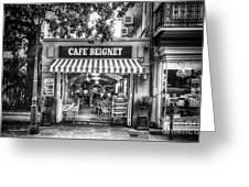 Cafe Beignet Morning Nola - Bw Greeting Card