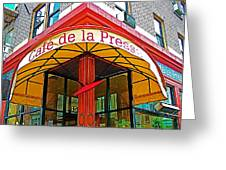 Cafe De La Presse In San Francisco-california  Greeting Card