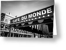 Cafe Du Monde Black And White Picture Greeting Card by Paul Velgos