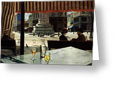 Cafe In A City Square Greeting Card