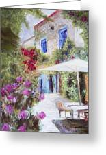 Cafe In The Spring Greeting Card