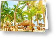 Cafe On Tropical Beach  Greeting Card