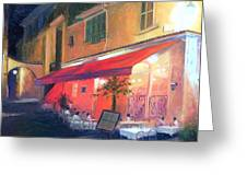 Cafe Scene Cannes France Greeting Card