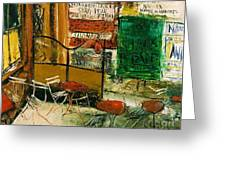 Cafe Terrace With Posters Greeting Card by Pg Reproductions