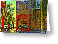 Cafe Window Corner Rue Fabre Near The Bicycle Stand Art Of Montreal Summer Street Scene  Greeting Card
