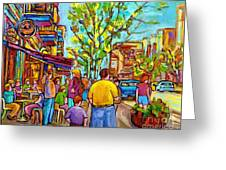 Cafes In Springtime Greeting Card
