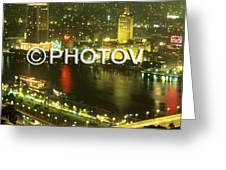 Cairo And The Nile River At Night - Egypt Greeting Card