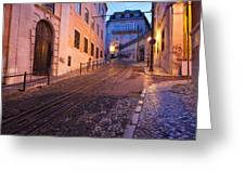 Calcada Da Gloria Street At Dusk In Lisbon Greeting Card