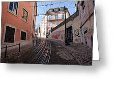 Calcada Da Gloria Street In Lisbon Greeting Card