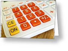 Calculator Greeting Card by Les Cunliffe