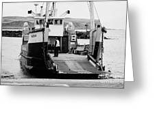Caledonian Macbrayne Mv Canna Ferry With Vehicle Boarding Ramp Lowered Rathlin Island Pier Harbour N Greeting Card